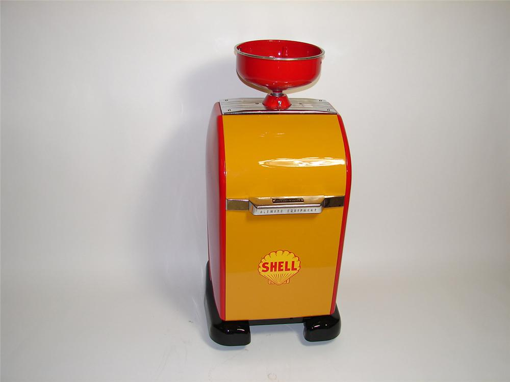 Neat 1940s Shell service station Alemite oil change cabinet on wheels. - Front 3/4 - 91412