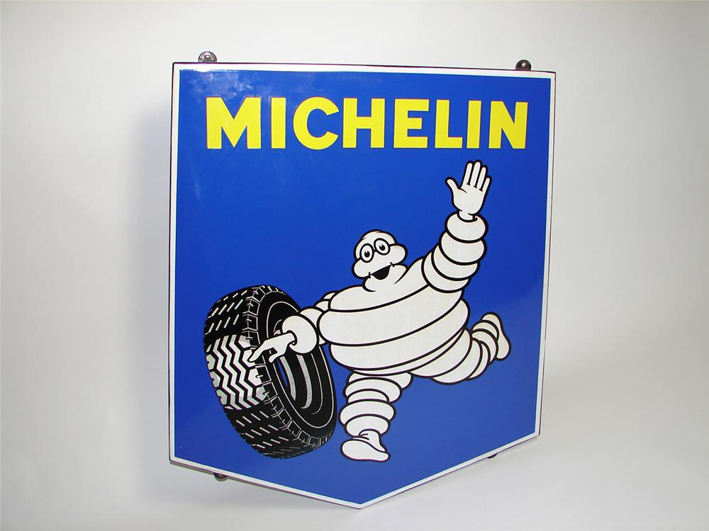 Impressive large Michelin Tires porcelain garage sign with Bibedum graphic. - Front 3/4 - 91414