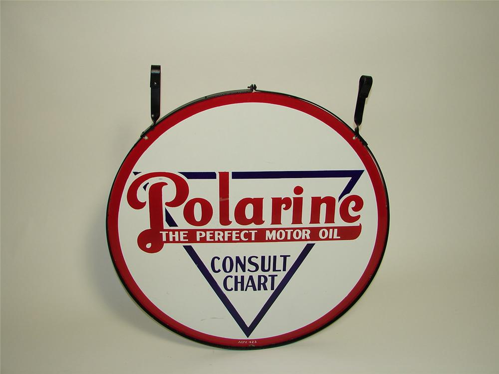 Stunning 1923 Standard Polarine Motor Oil double-sided porcelain dealership sign in hanging ring. - Front 3/4 - 91416