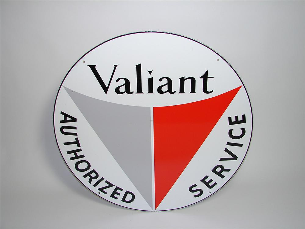 Immensely clean Valiant Automobiles double-sided porcelain dealership sign. - Front 3/4 - 91417