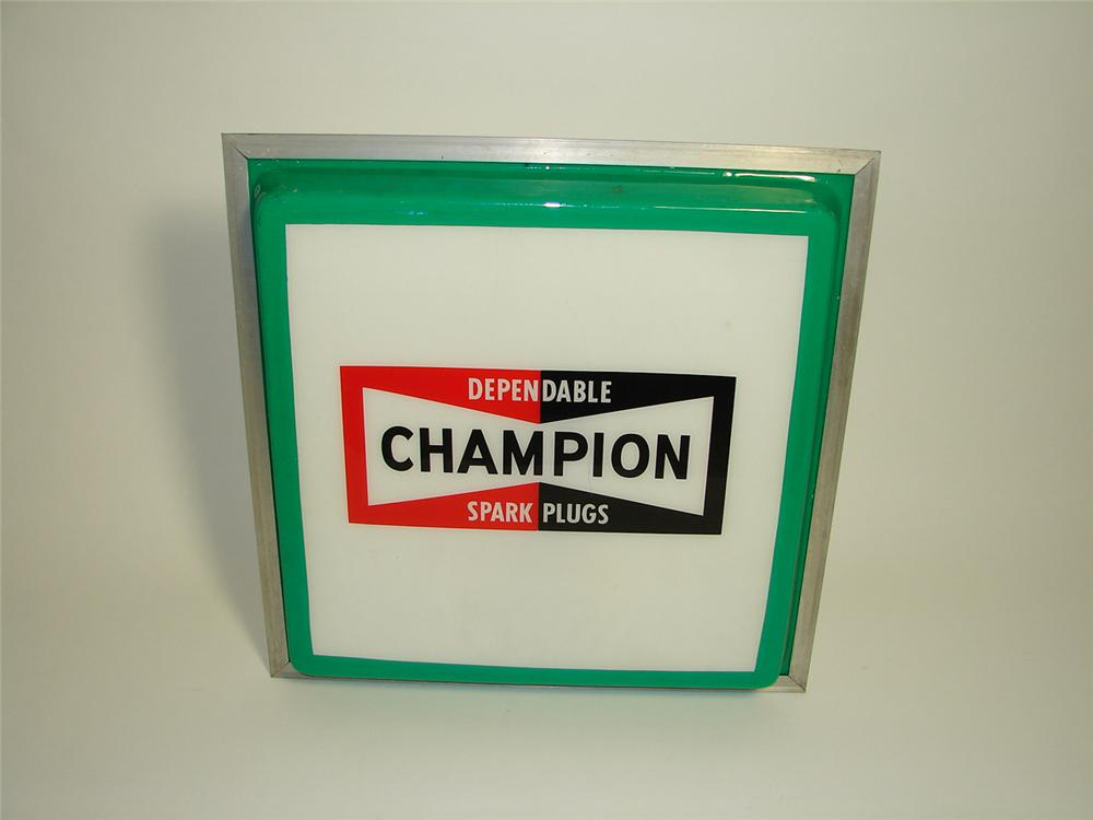 1960s Champion Spark Plugs garage sign. - Front 3/4 - 91420