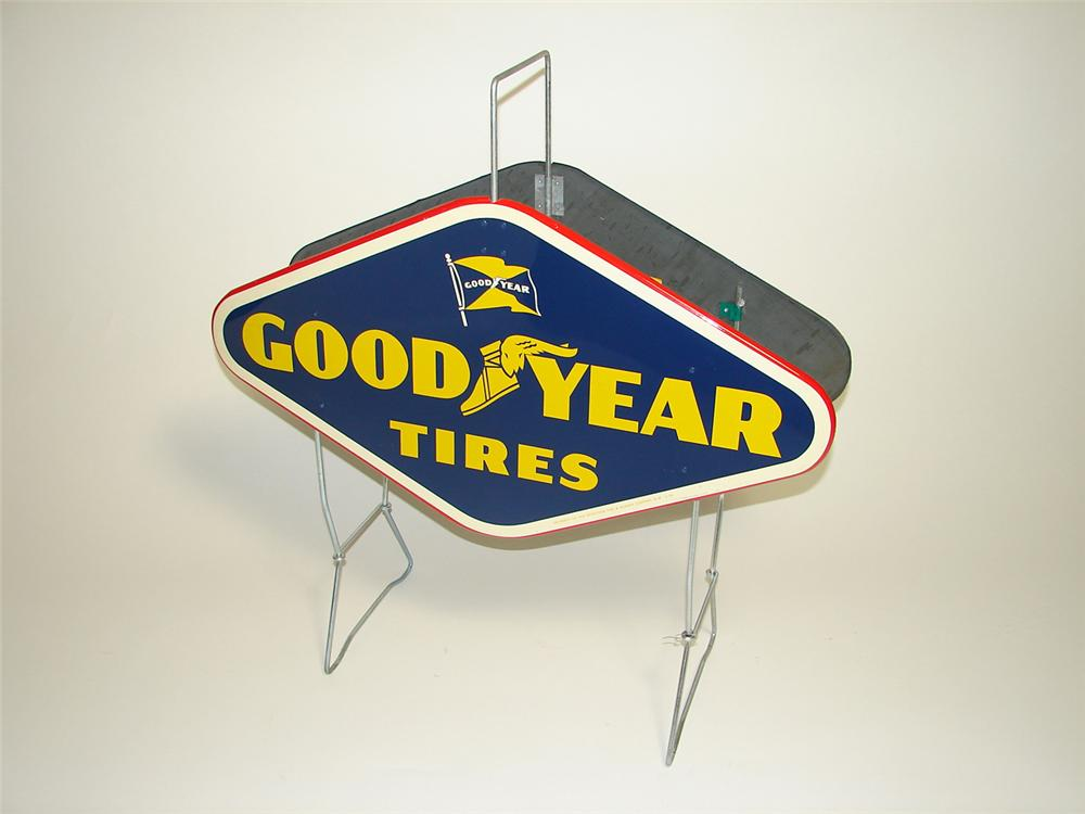 """N.O.S. 1950s Goodyear Tires garage """"Carry-It """" Tire display stand found in the original shipping box. - Front 3/4 - 91421"""
