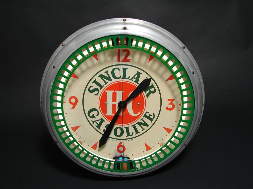 Rare all original HC Sinclair Gasoline neon station clock with animation unit by Swihart. - Front 3/4 - 91422