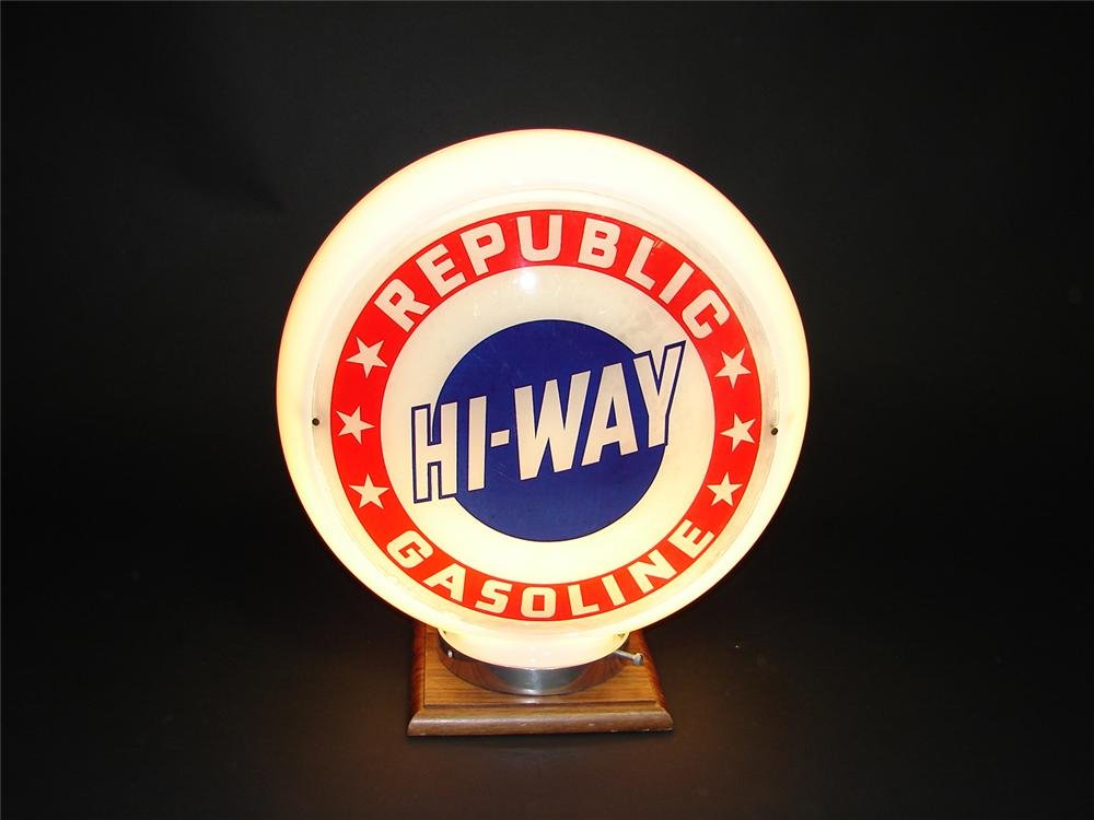 Rarely seen Hi-Way Republic Gasoline narrow bodied milk glass gas pump globe. - Front 3/4 - 91426