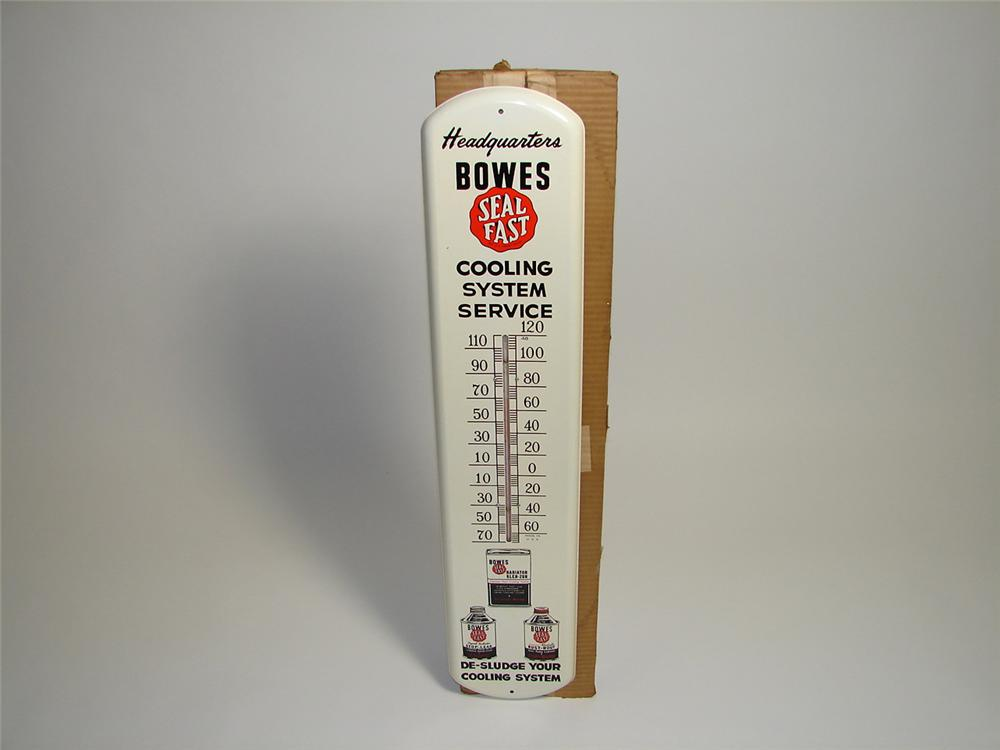 Incredible Bowes Seals Fast Cooling System Service over-sized tin painted garage thermometer still in the original box. - Front 3/4 - 91431