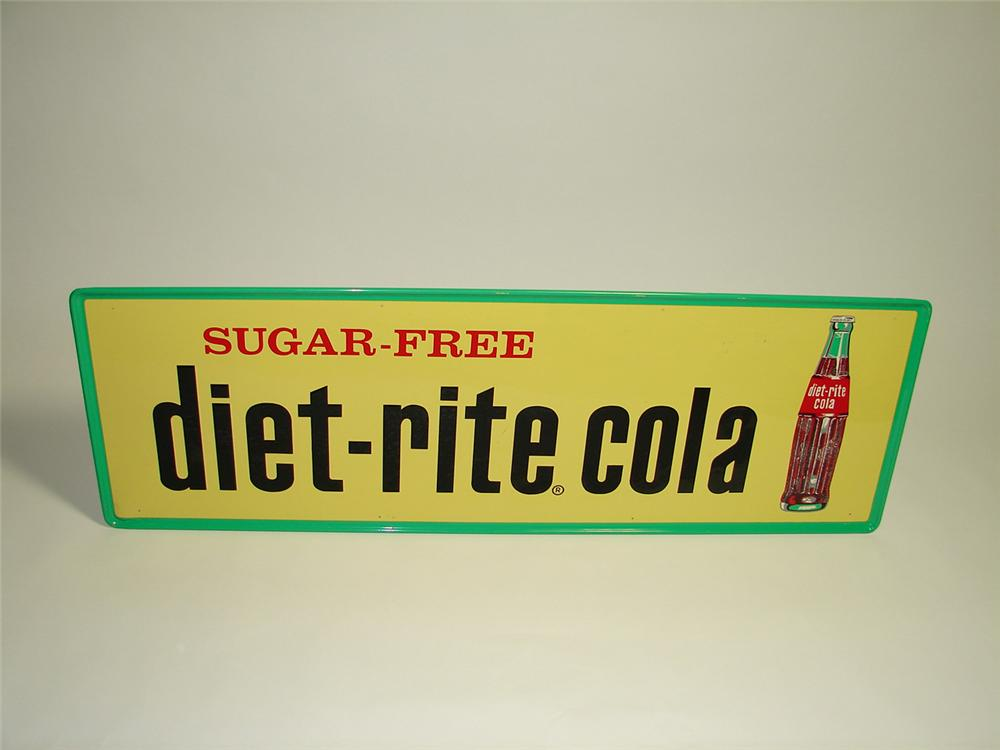 Large N.O.S. late 1950s Diet-Rite Cola horizontal tin general store sign with embossed lettering. - Front 3/4 - 91432