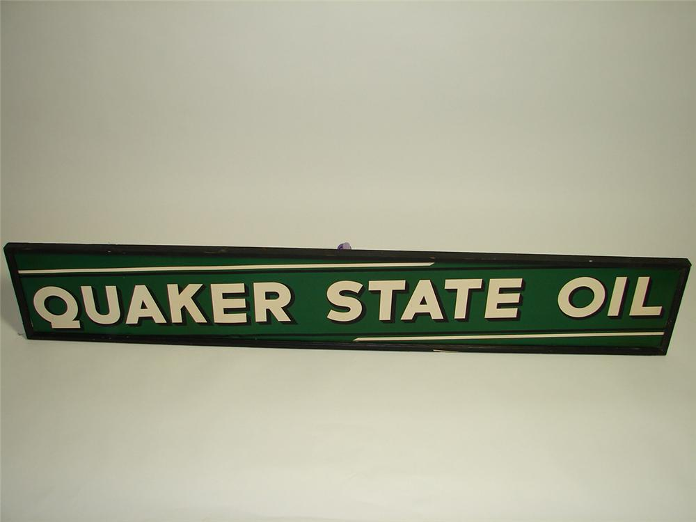 Superlative N.O.S. 1930s Quaker State Motor Oil tin painted wood framed garage sign. - Front 3/4 - 91433