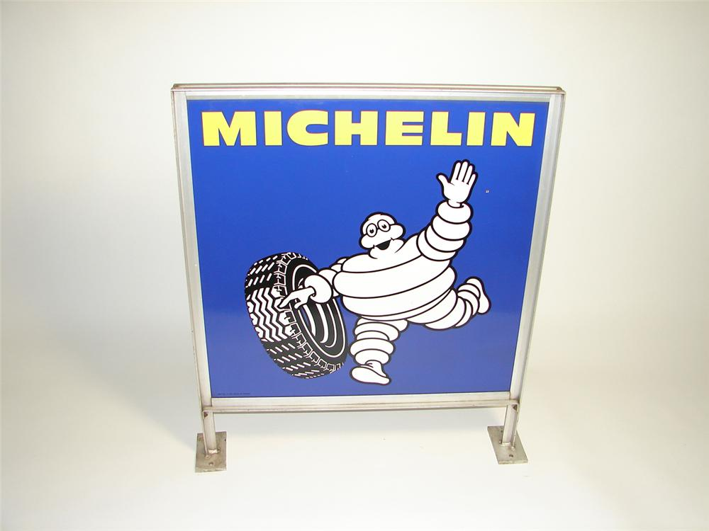 Awesome vintage Michelin Tires double-sided porcelain curb sign in original frame featuring Bibedum. - Front 3/4 - 91434