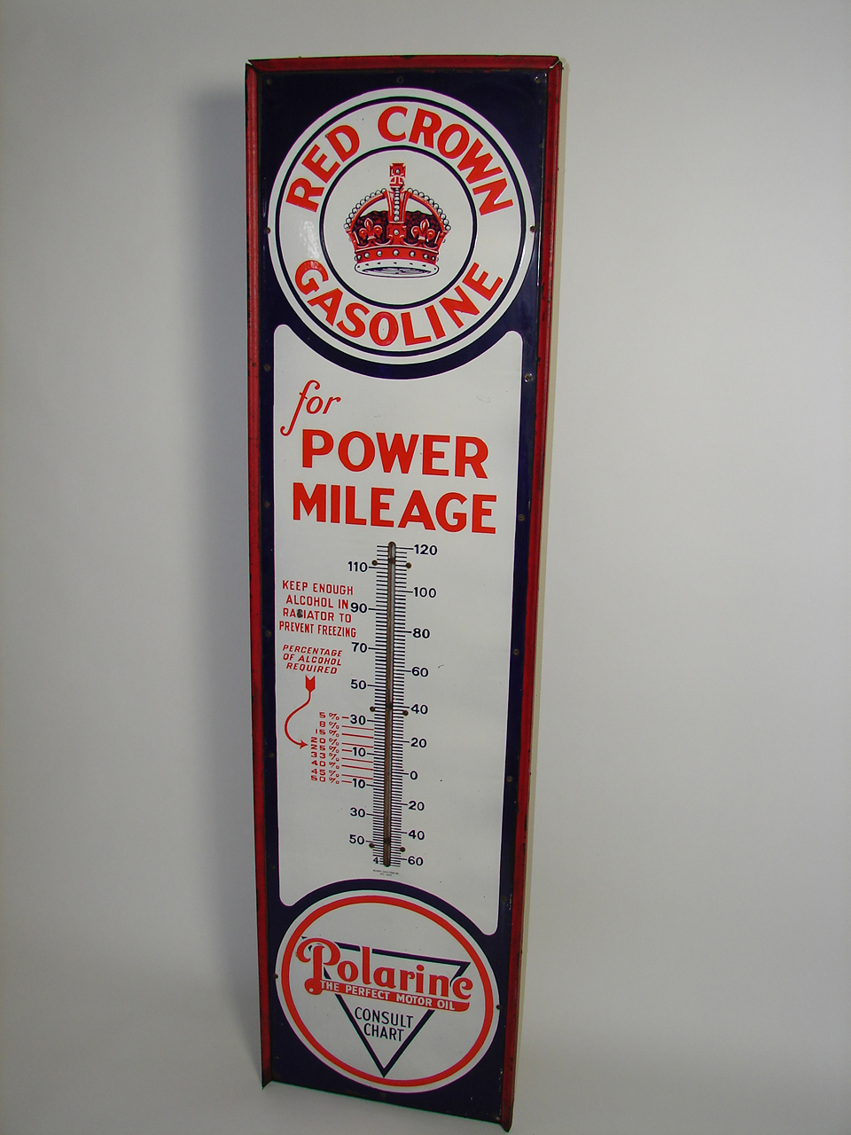 Spectacular 1924 Standard Red Crown Gasoline - Polarine Motor Oil 6 tall porcelain service station thermometer in original w... - Front 3/4 - 91435