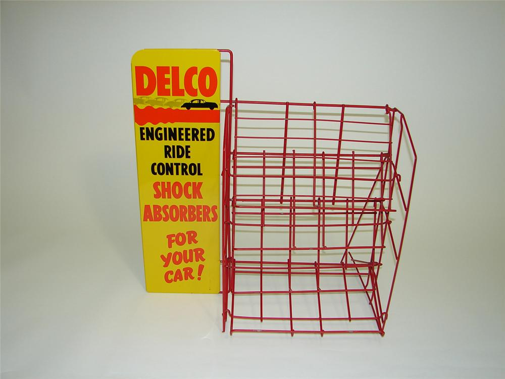 Never before seen N.O.S. 1940s GM Delco Shock Absorbers service department rack - Front 3/4 - 91467