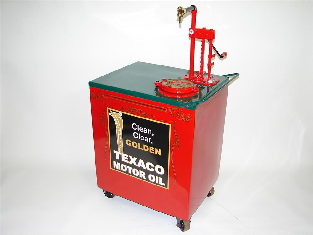 Very fancy 1920s-30s Gilbert and Barker Texaco restored filling station oil cart on wheels. - Front 3/4 - 91474