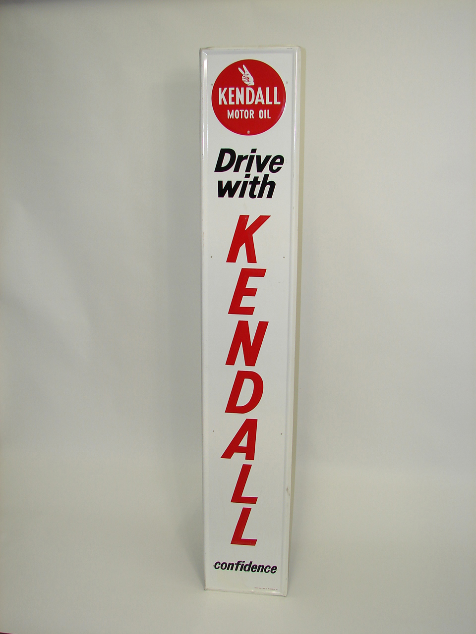 1960s Kendall Motor Oil vertical tin painted garage sign. - Front 3/4 - 91475