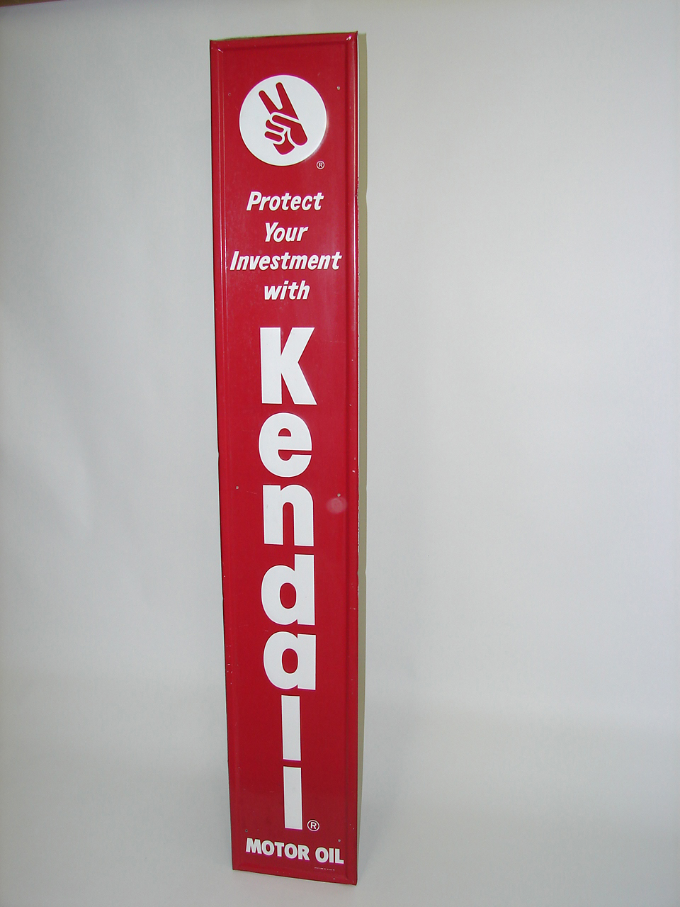N.O.S. Kendall Motor Oil (red) vertical tin garage sign. - Front 3/4 - 91478
