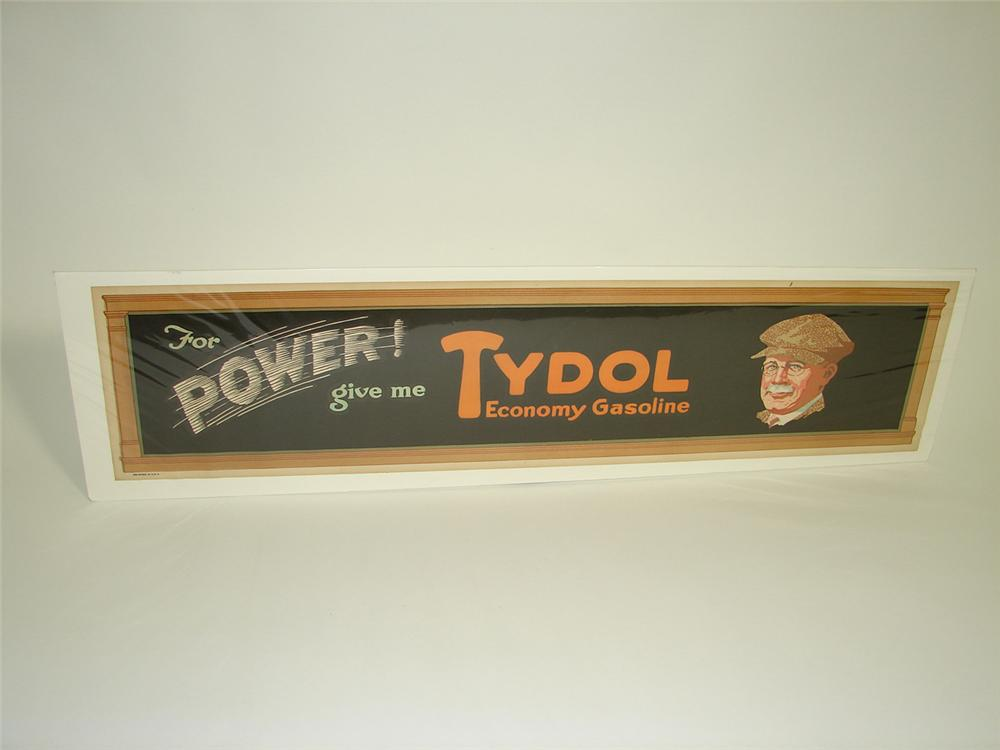 Museum quality N.O.S. 1920s Tydol poster with driving gentleman depicted. - Front 3/4 - 91480