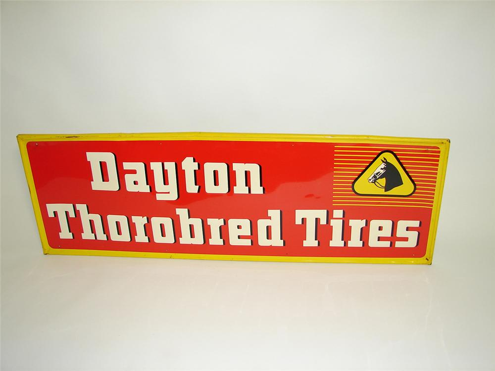 Sharp 1954 Dayton Thorobred Tires sign tin embossed garage sign. - Front 3/4 - 91485