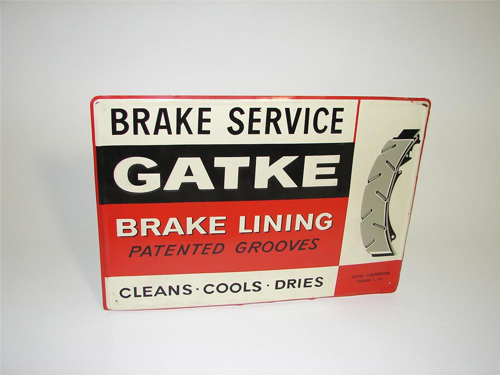 Unusual N.O.S. 1950s Gatke Brake Service-Brake Lining tin garage sign. - Front 3/4 - 91486