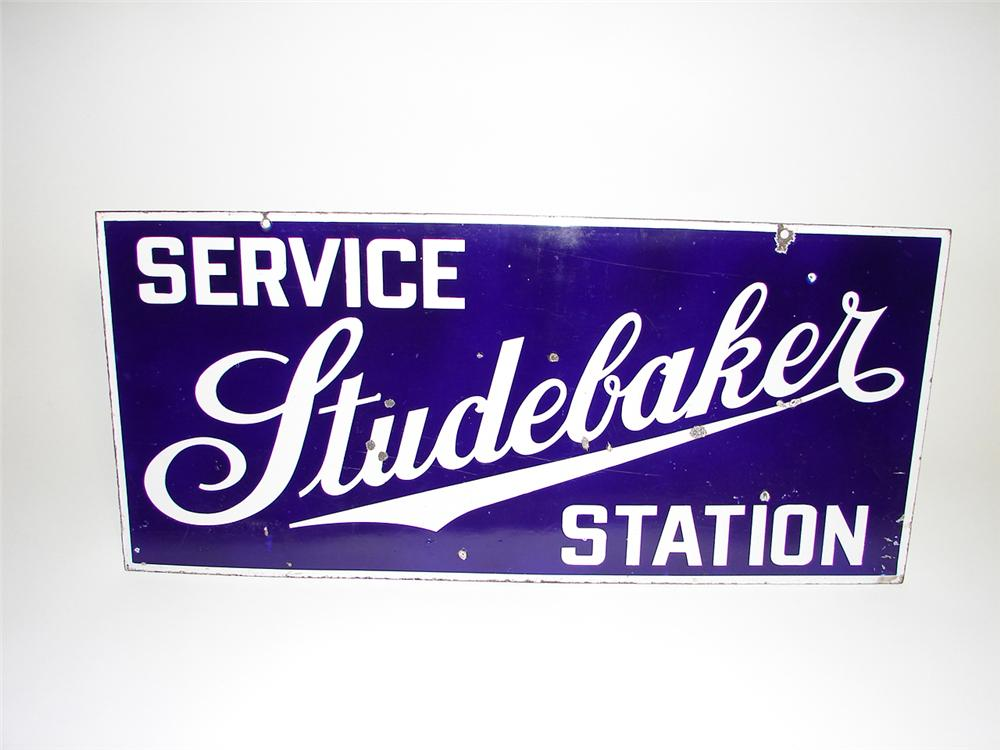 Very early 1930s Studebaker Service Station double-sided porcelain garage sign. - Front 3/4 - 91487