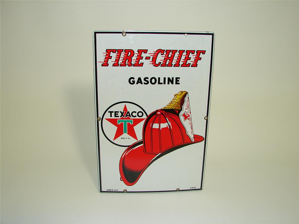 N.O.S. 1947 Texaco Fire-Chief Gasoline porcelain pump plate sign. - Front 3/4 - 91489