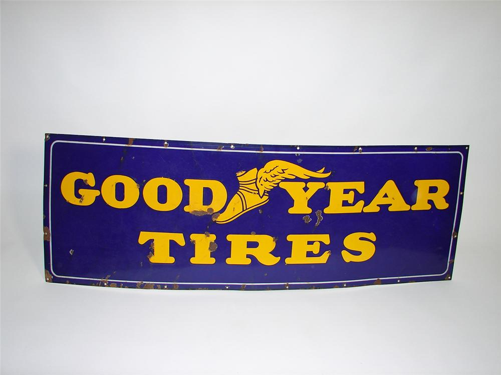 1930s Goodyear Tires horizontal porcelain garage sign. - Front 3/4 - 91493