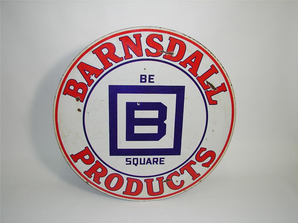 Very desirable 1940s Barnsdall Oil double-sided porcelain service station sign. - Front 3/4 - 91494
