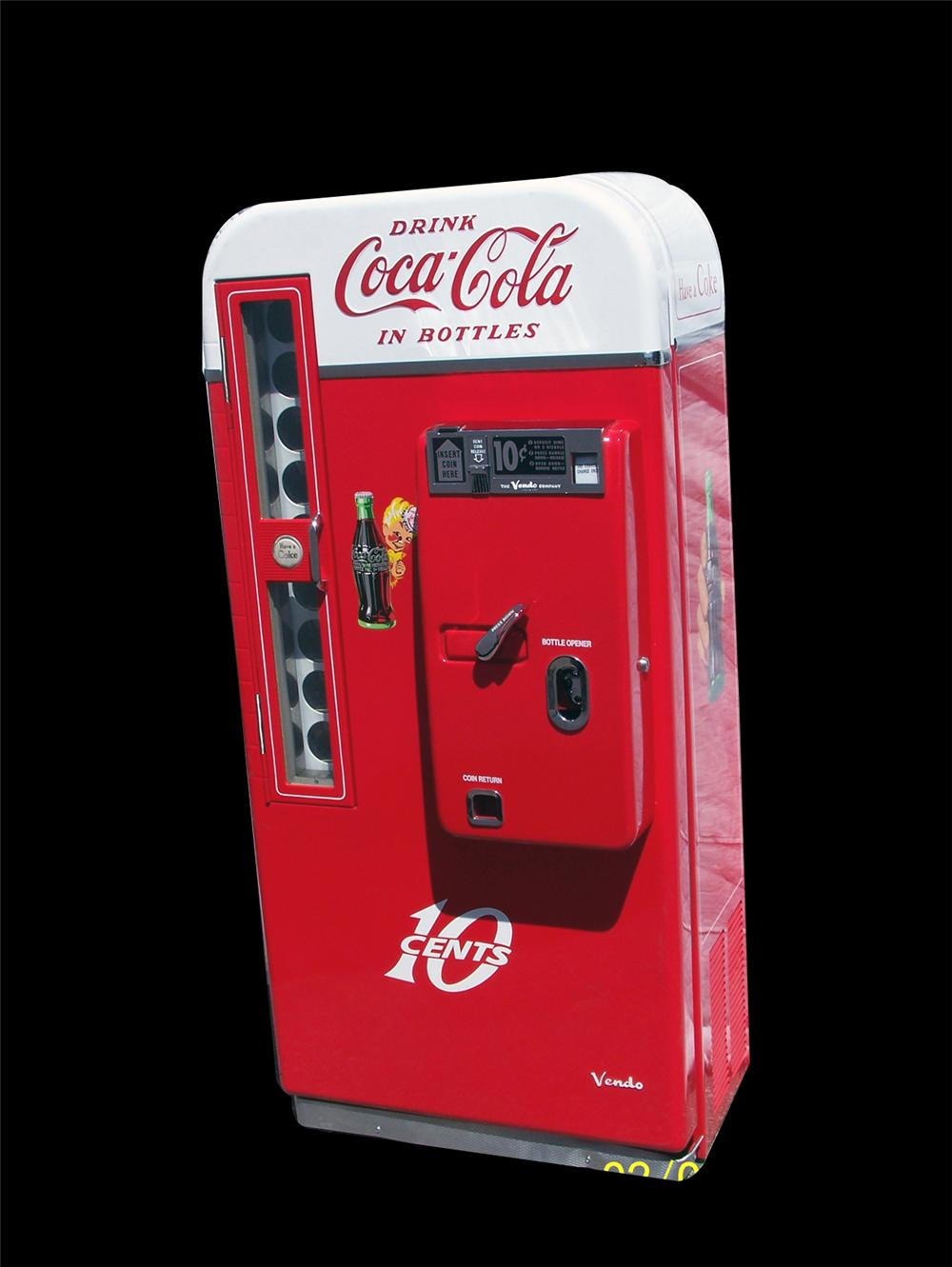 Stellar 1950s Coca-Cola restored Vendo 81 coin-operated ten-cent soda machine. - Front 3/4 - 91495