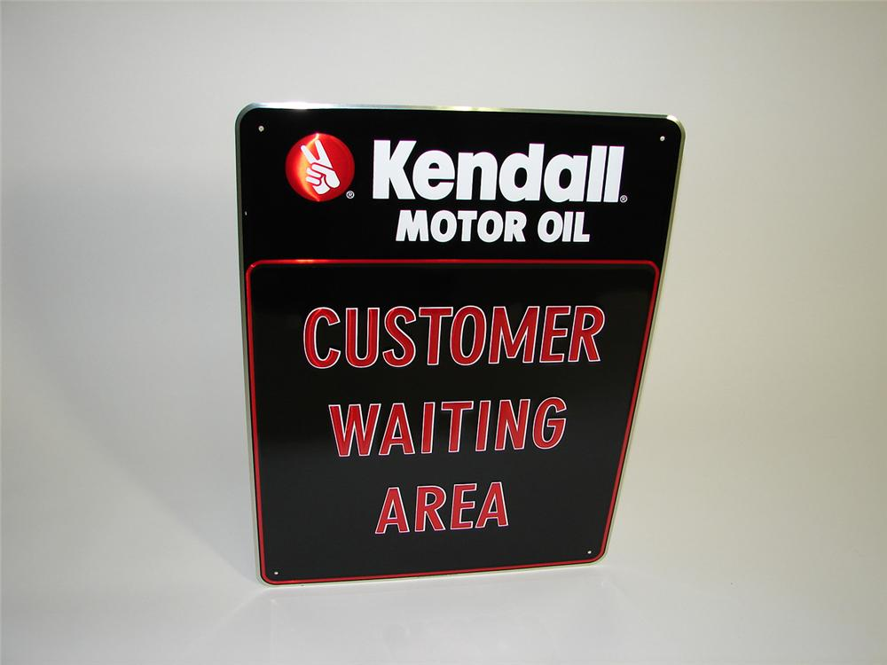 "N.O.S. Kendall Motor Oil ""Customer Waiting"" tin painted garage sign. - Front 3/4 - 91506"