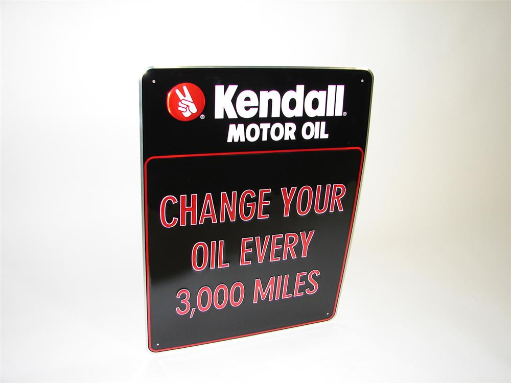 "N.O.S. Kendall Motor Oil ""Change Your Oil"" tin painted garage sign. - Front 3/4 - 91508"