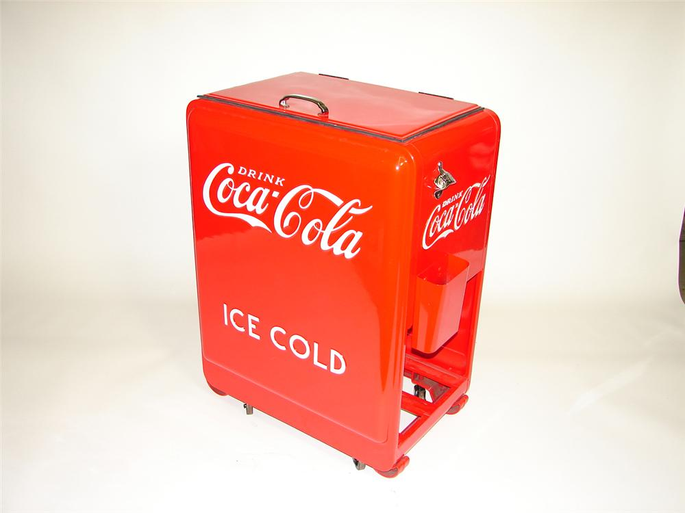 "Magnificent 1920s-30s Coca-Cola ""Junior"" restored general store cooler. - Front 3/4 - 91509"