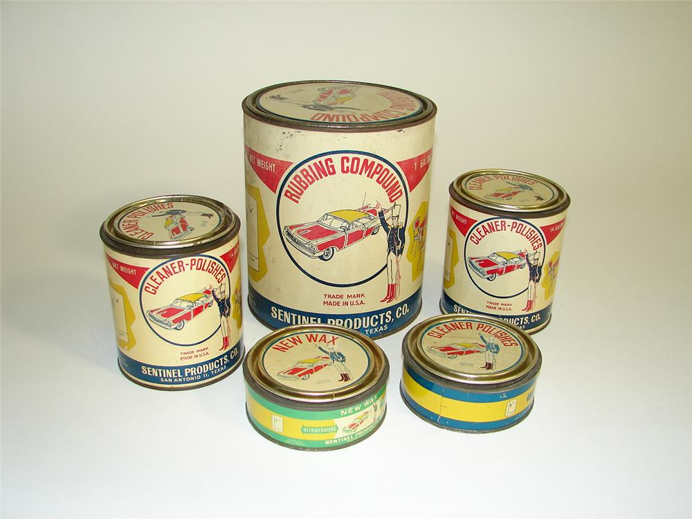 Set of five New Wax Automobiles polishing wax tins with period automobile graphic - Front 3/4 - 91513