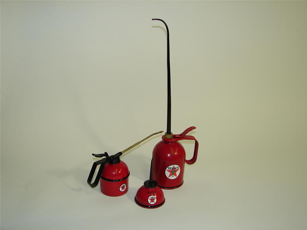 Fantastic lot of three vintage Texaco service station restored hand oilers. - Front 3/4 - 91514