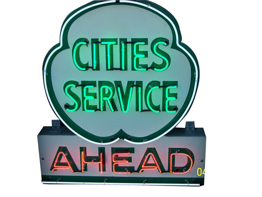 Nifty 1950s Cities Service single-sided neon service station sign. - Front 3/4 - 91519
