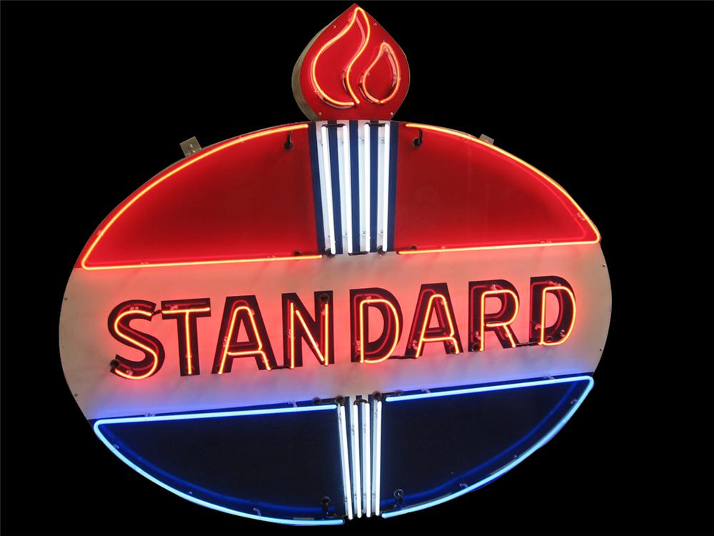 Very impressive 1950s Standard Oil porcelain neon service station sign with flame logo. - Front 3/4 - 91520