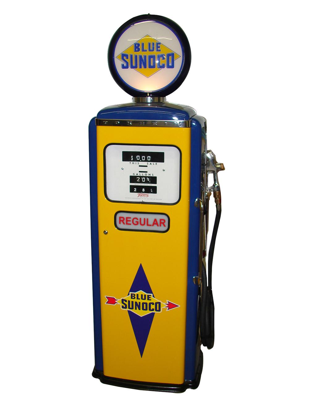 Wonderful 1959 Tokheim 39 Blue Sunoco restored service station gas pump. - Front 3/4 - 91522