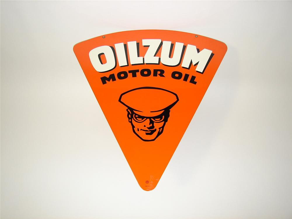 Highly desirable N.O.S. 1961 Oilzum Motor Oil double-sided tin garage sign. - Front 3/4 - 91528