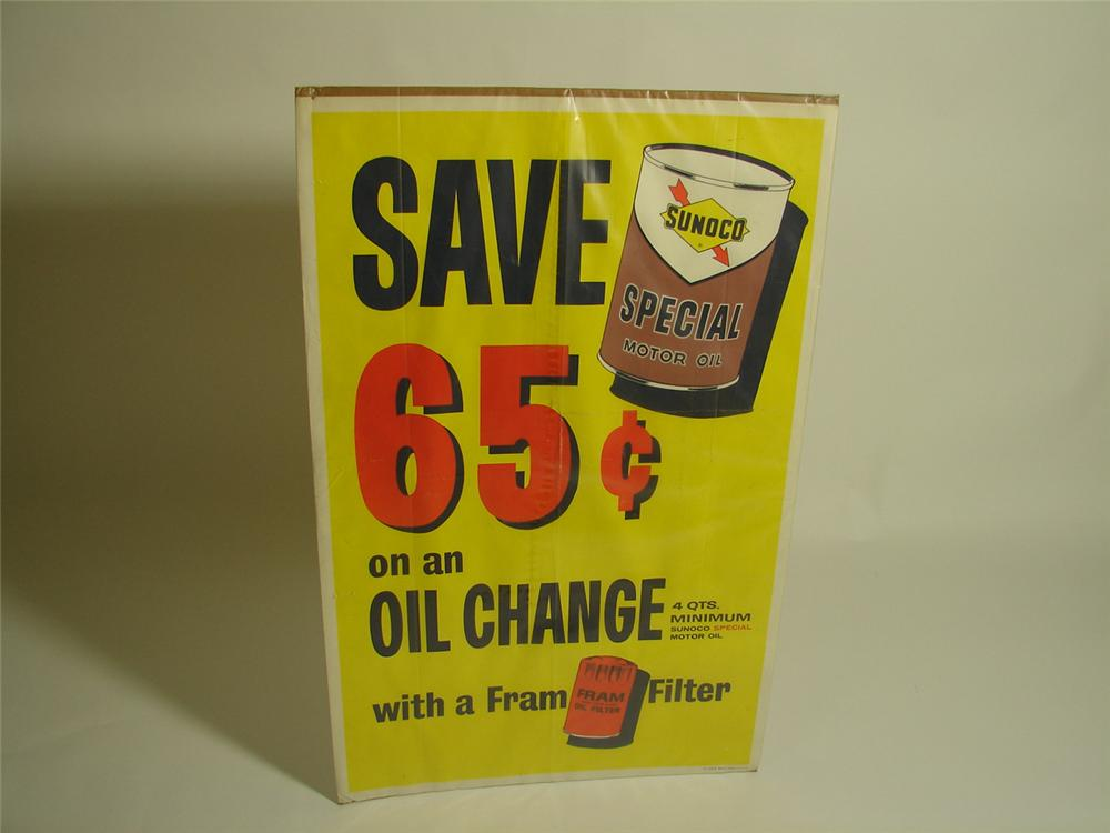 Late 1960s Sunoco service station poster promoting Sunoco Oil and Fram Oil Filters. - Front 3/4 - 91533