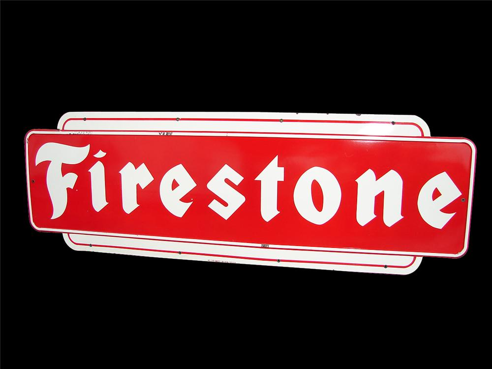 Large 1953 Firestone Tires single-sided porcelain garage sign. - Front 3/4 - 91537