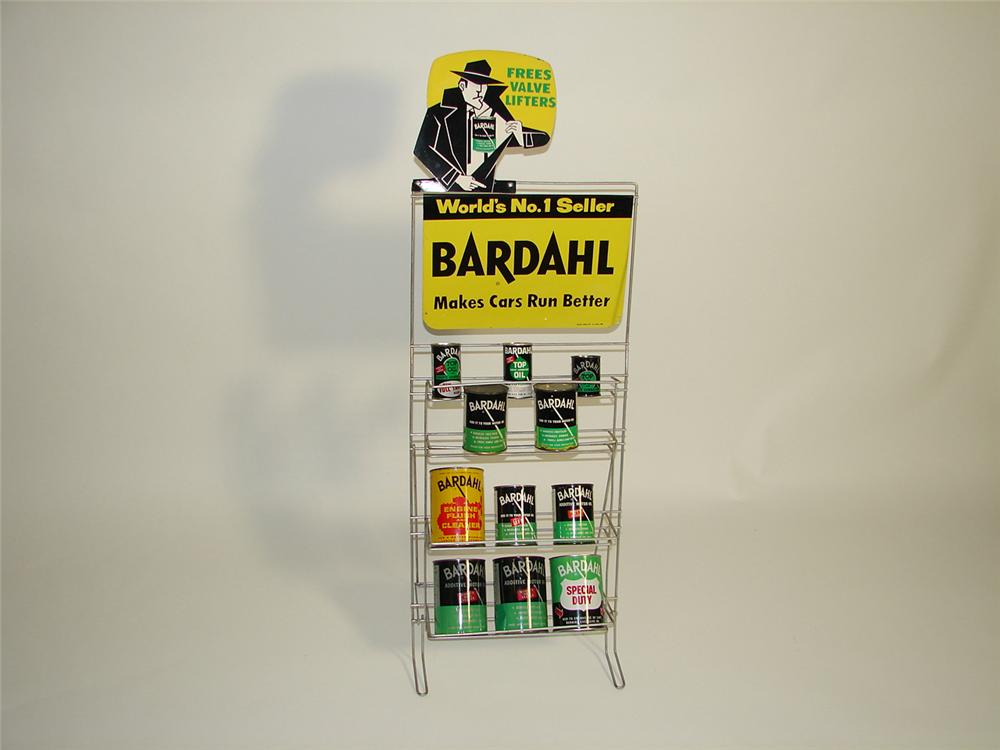 Outstanding 1960s Bardahl Engine Additive garage display rack filled with original product. - Front 3/4 - 91539