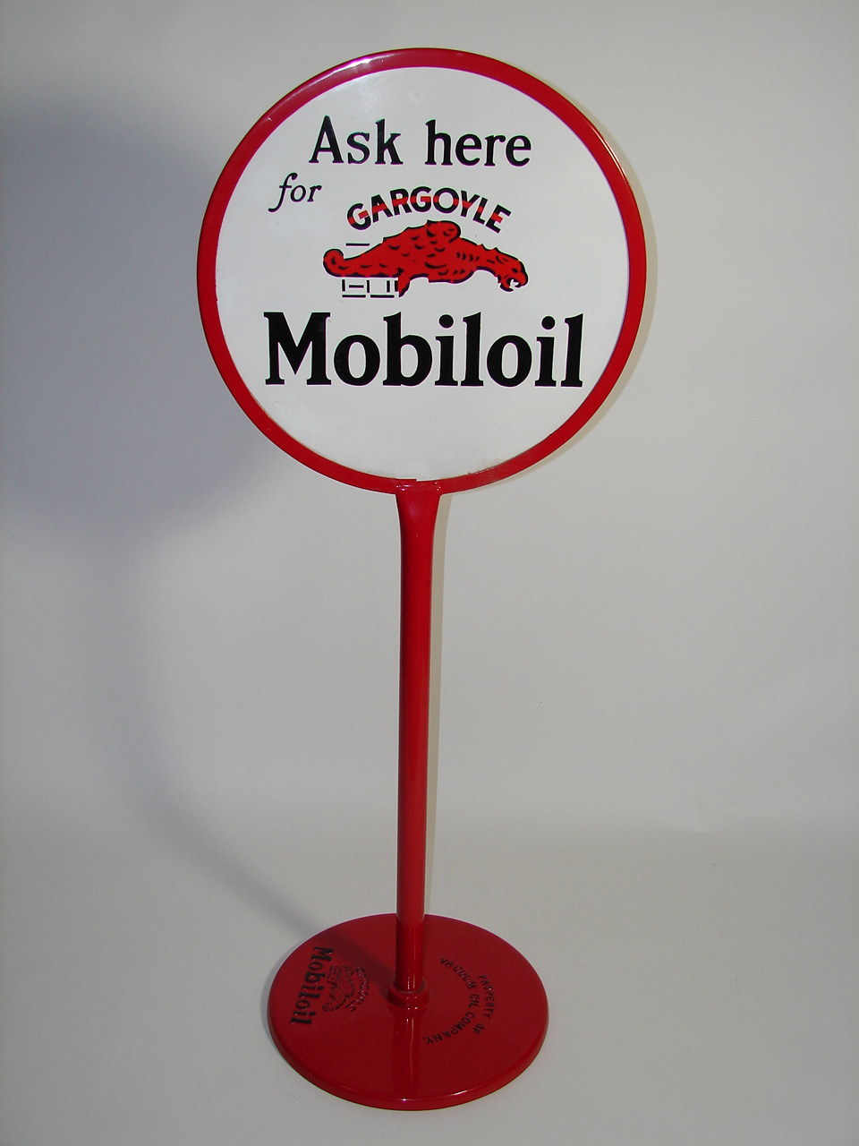Fabulous 1930s Gargoyle Mobil Oil double-sided porcelain curb sign in stand. - Front 3/4 - 91541