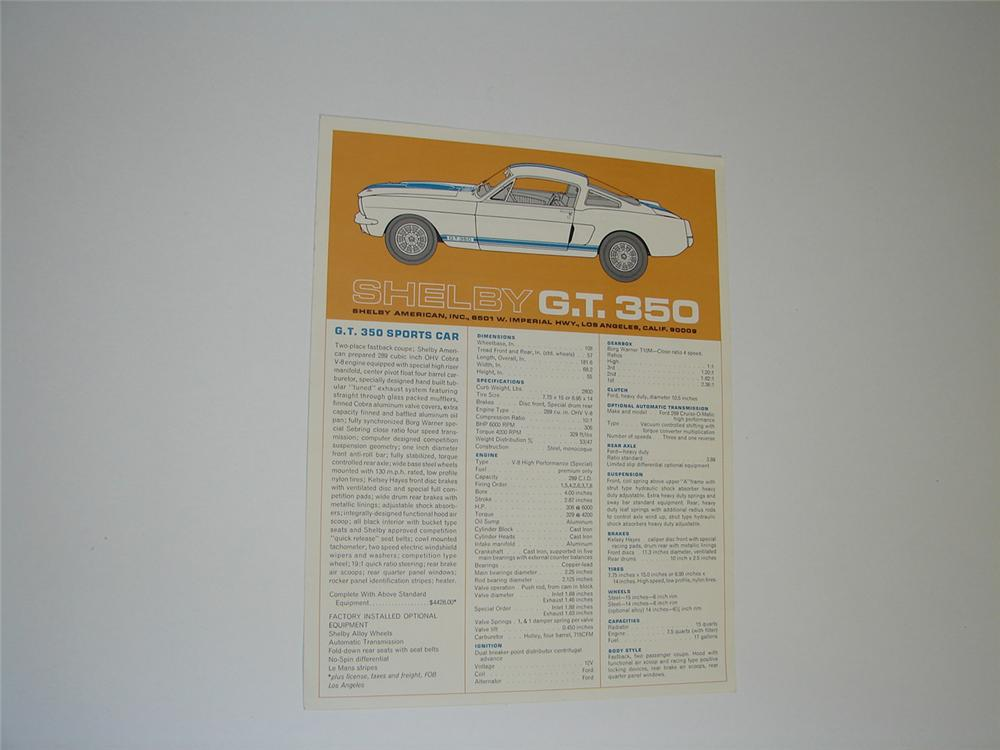 Hard to find 1967 Shelby GT 350 dealer showroom sales double-sided spec sheet. - Front 3/4 - 91544