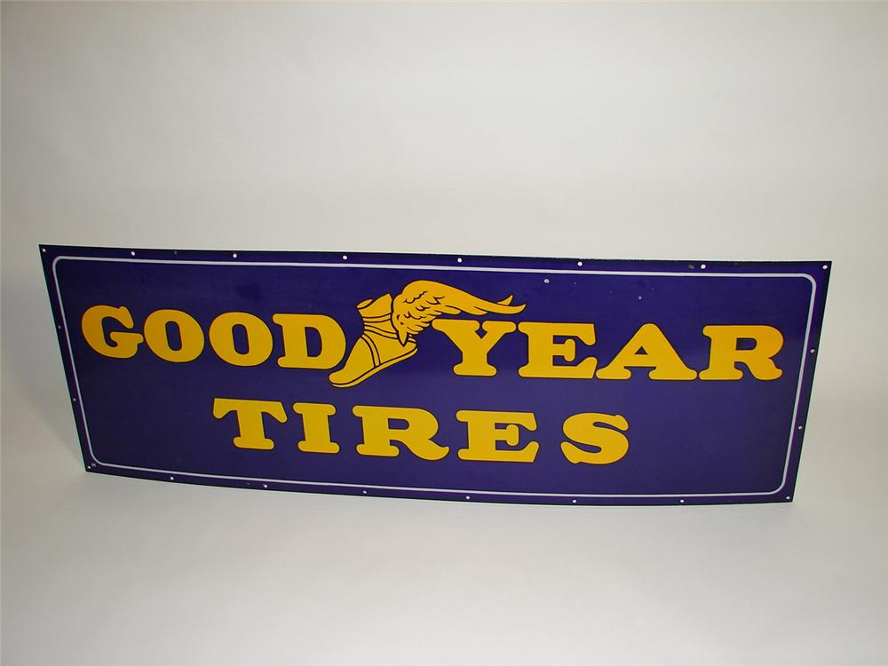 Superlative N.O.S. 1930s Goodyear Tires single-sided porcelain garage sign. - Front 3/4 - 91548