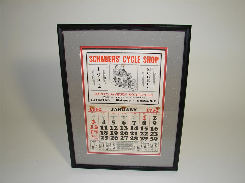 Worthy of bragging rights N.O.S. 1932 Harley Davidson Motorcycle sales garage calendar - Front 3/4 - 91549