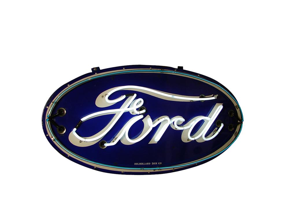 Magnificent 1930s Ford Automobiles single-sided porcelain neon dealership sign. - Front 3/4 - 91556