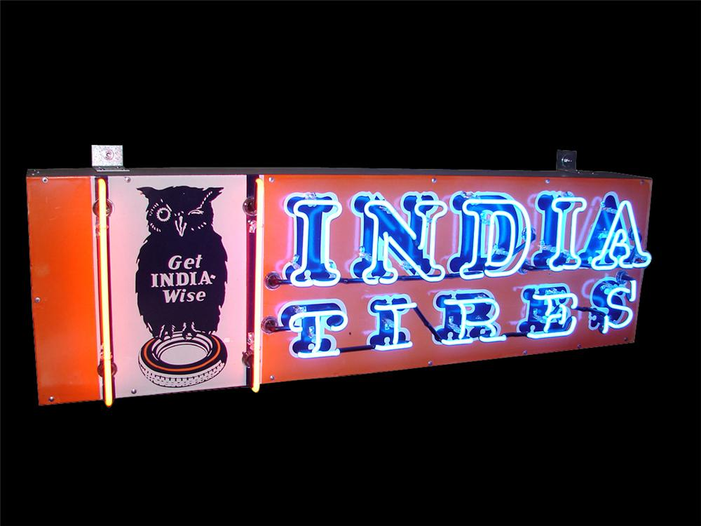 Seldom seen 1930s India Tires of India Ohio single-sided porcelain garage neon - Front 3/4 - 91558