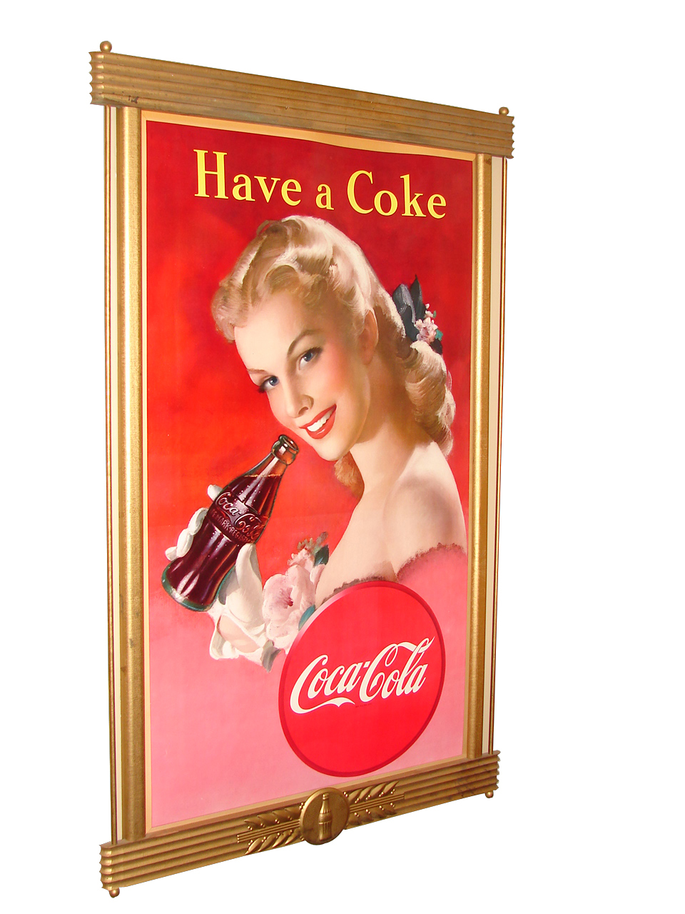 "Divine late 1940s Coca-Cola ""Have A Coke"" cardboard diner sign in original frame. - Front 3/4 - 91561"