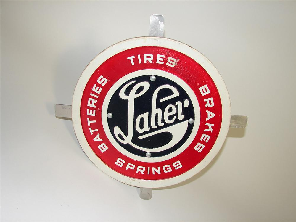 Early Laher Tires-Batteries-Brakes cast metal embossed garage sign. - Front 3/4 - 91562