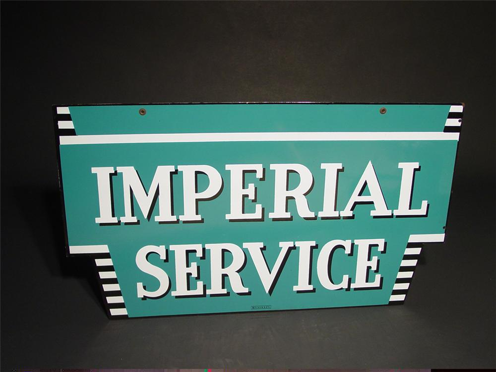 Immaculate 1950s Chrysler Imperial Service double-sided porcelain dealership sign. - Front 3/4 - 91576