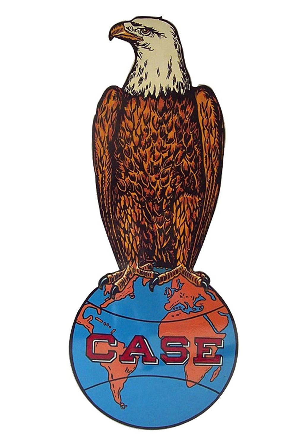 Museum quality early Case Tractors and Automobiles 6 porcelain die-cut eagle dealership sign. - Front 3/4 - 91578