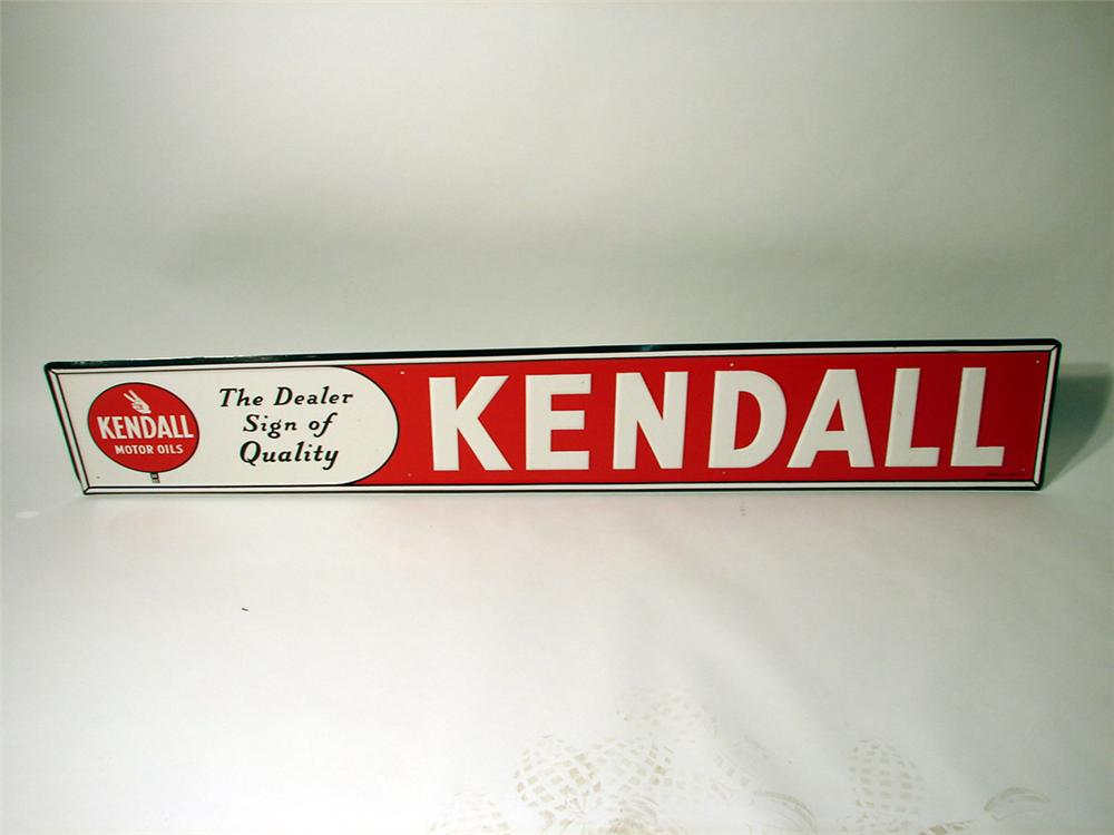 N.O.S. 1950s Kendall Motor Oil single-sided tin station sign. - Front 3/4 - 91579