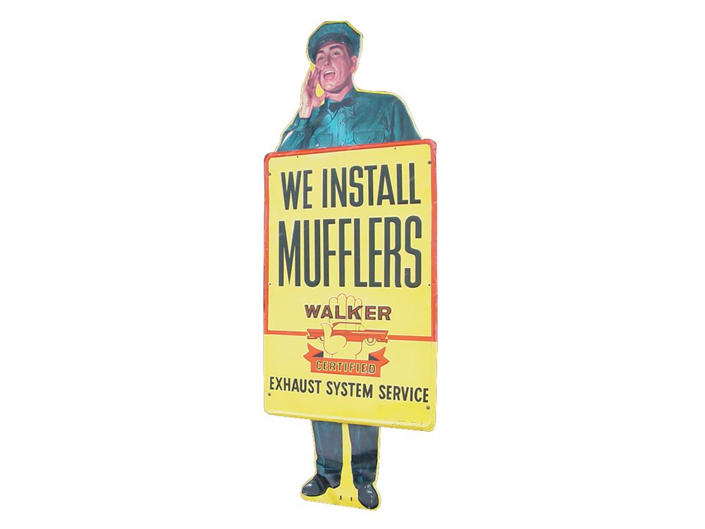 Killer 1950s Walker Mufflers tin service garage sign. - Front 3/4 - 91583