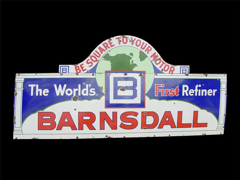"Spectacular large 1930s Barnsdall ""B Square to Your Motor"" porcelain service station sign. - Front 3/4 - 91585"